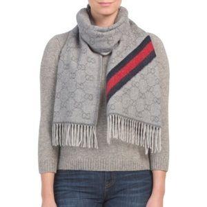 GUCCI Wool Angora Monogram Web Scarf Dark Grey